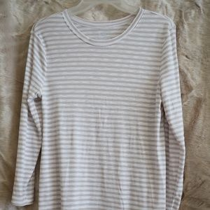 Taupe and white stripe side split 3/4 sleeve tunic